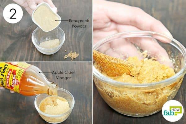 make fenugreek paste to use acv for dandruff