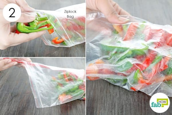 Seal the frozen slices in a Ziplock to store bell peppers