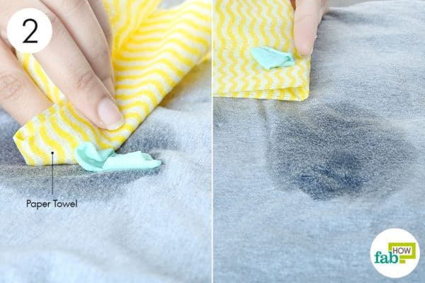 rub off the gum with paper towel to remove chewing gum from clothes