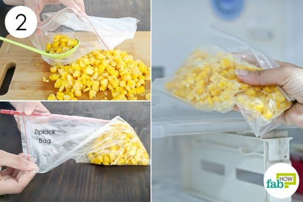 seal kernels in ziplock and freeze to store sweet corn