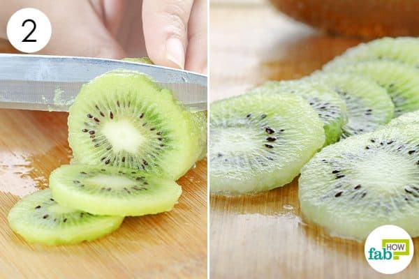 slice into circles to peel and cut a kiwi