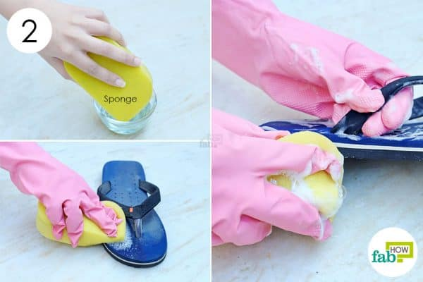 scrub with a sponge to clean flip-flops