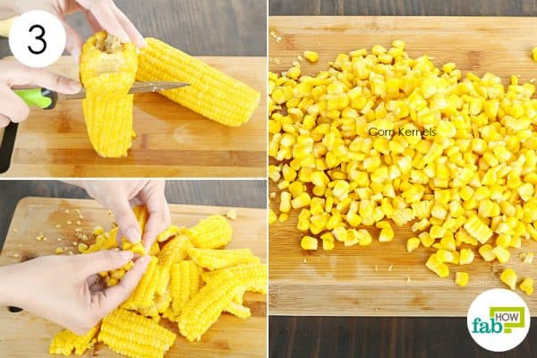 cut kernels off the cob to store sweet corn