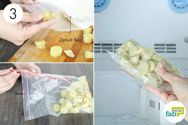 store in a ziplock bag and freeze to store sweet potatoes