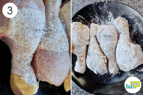 season and coat the chicken to make chicken with white wine