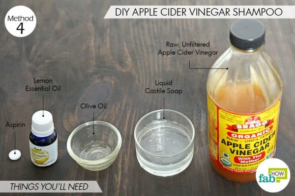 things you'll need to make DIY shampoo to use acv for dandruff