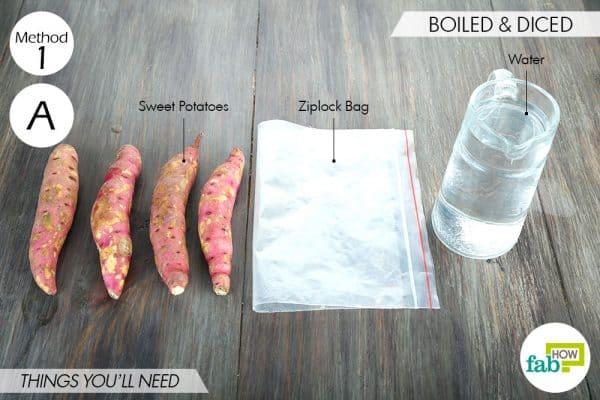 things you'll need to store sweet potatoes via freezing