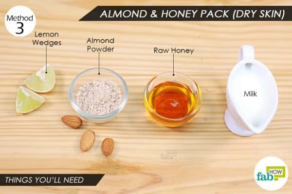 things you'll need to make almond-honey pack to remove Holi color from skin