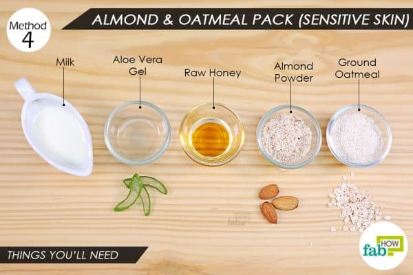 things you'll need to make almond-oatmeal pack to remove Holi color from skin