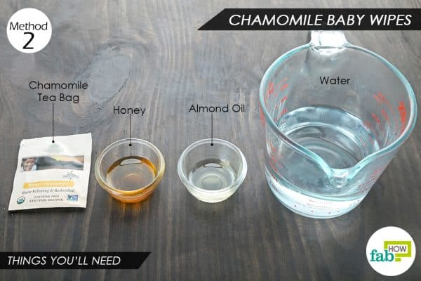things you'll need to use chamomile tea to make baby wipes