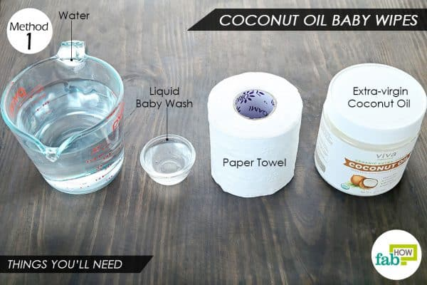 things you'll need to use coconut oil to make baby wipes
