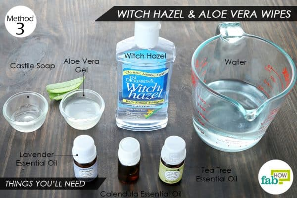 things you'll need to use witch hazel to make baby wipes