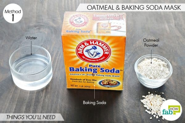 things you'll need to make baking soda and oatmeal face mask for blackheads