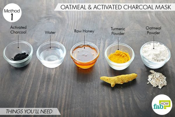 things you'll need to make charcoal and oatmeal face mask for blackheads