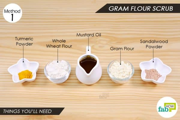 things you'll need to make gram flour scrub to remove Holi color from skin