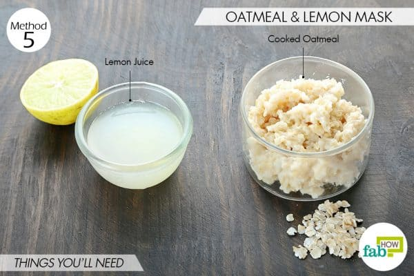 things you'll need to make lemon and oatmeal face mask for blackheads