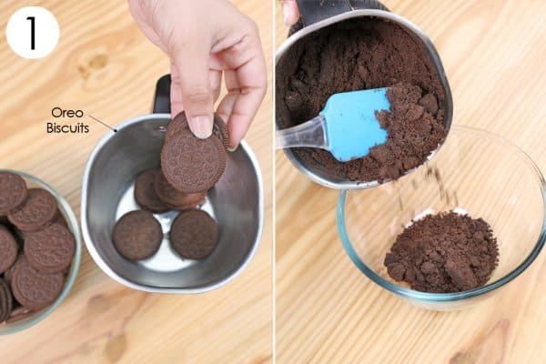 grind oreo to make oreo cake recipe