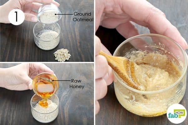 mix oatmeal and honey to make oatmeal face mask for acne