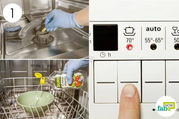 use vinegar and run a wash cycle to clean a dishwasher
