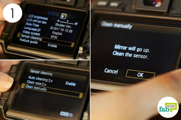 set the camera on manual sensor cleaning to clean dslr right way