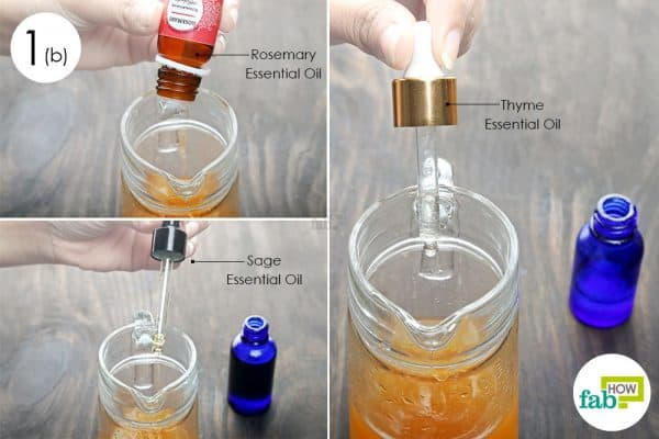 combine ingredients to make diy bug spray for skin