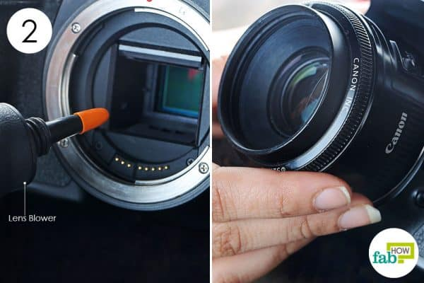 displace the dust on the sensor with air blower to clean dslr the right way