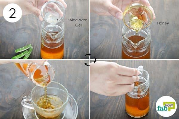 mix aloe and honey to make aloe vera tea