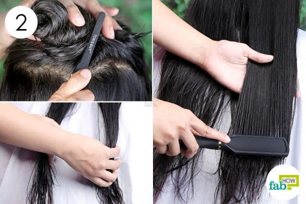 separate and detangle to blow-dry straight hair