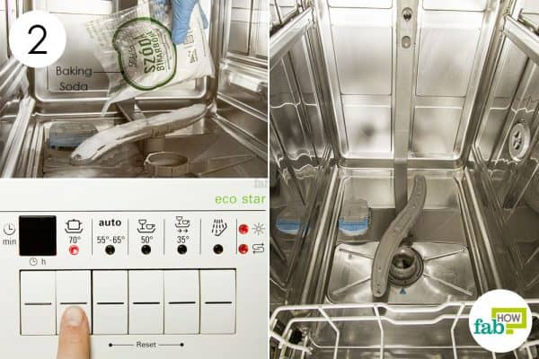 sprinkle baking soda and run a wash cycle to clean a dishwasher