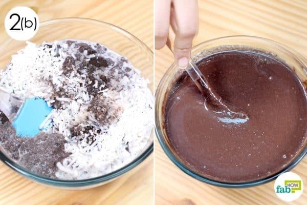mix ingredients to make oreo cake recipe