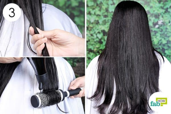 use a blow dryer and round brush to blow-dry straight hair