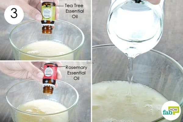 mix the essential oils to make diy homemade hair conditioner