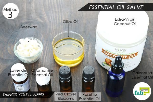 things you'll need to make DIY burn salve with essential oils