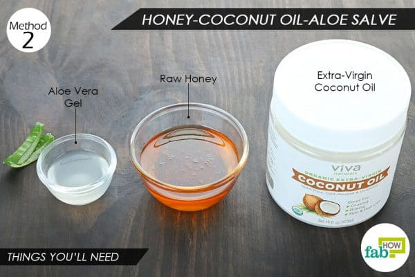 things you'll need to make DIY burn salve with coconut oil