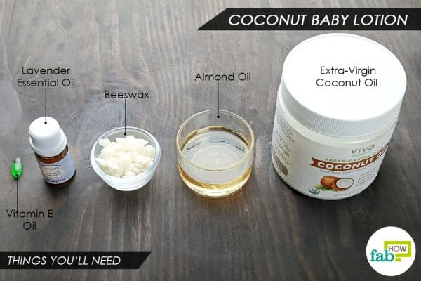 things you'll need to make coconut DIY baby lotion