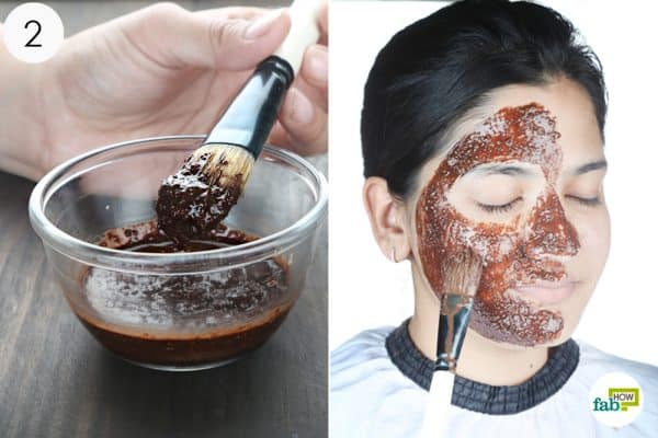 apply the oatmeal and cocoa paste to your face to treat dry skin
