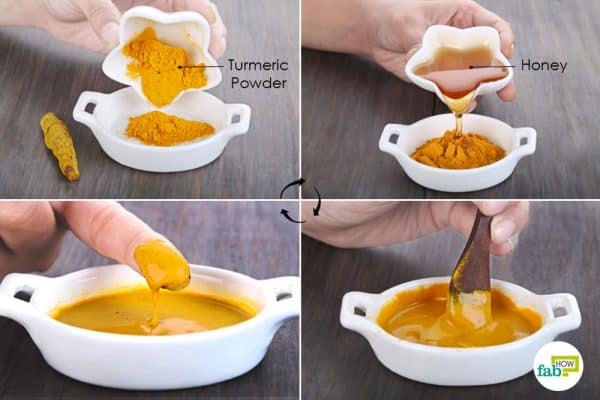 mix turmeric and honey and apply on the affected area