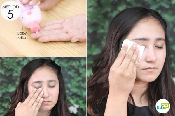 squirt a pea sized baby lotion on your fingers and massag the eye makeup off