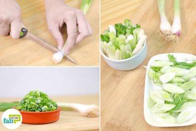 cut spring onions
