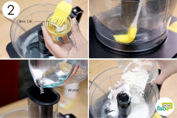 layer the food processor with olive oil and put the flour mixture into it