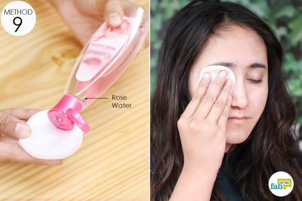 soak two cotton pads in chilled rose water and put them on your eyes to get relieved from puffy eyes