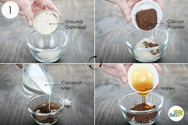 mix ground oatmeal cocoa powder coconut milk and honey