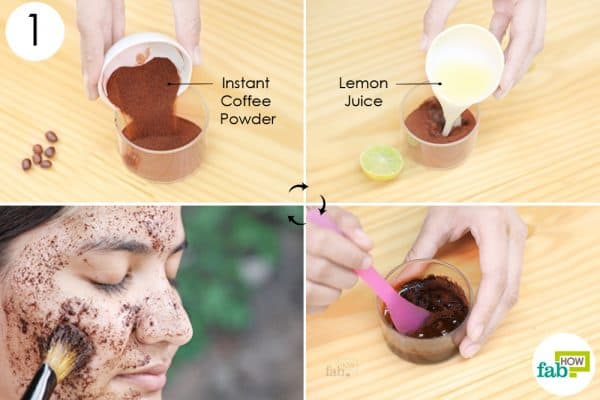 make a paste of coffee and lemon juice