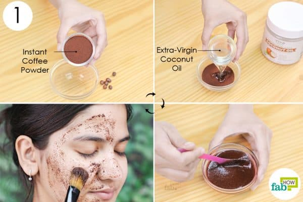 mix coffee and coconut oil and apply