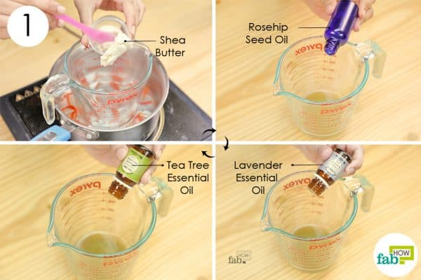 melt shea butter to make diy homemade anti acne cream gel