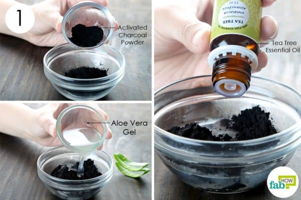 mix the activated charcoal powder, aloe vera gela and tea tree oil for making thediy homemade vegan face masks for all skin types