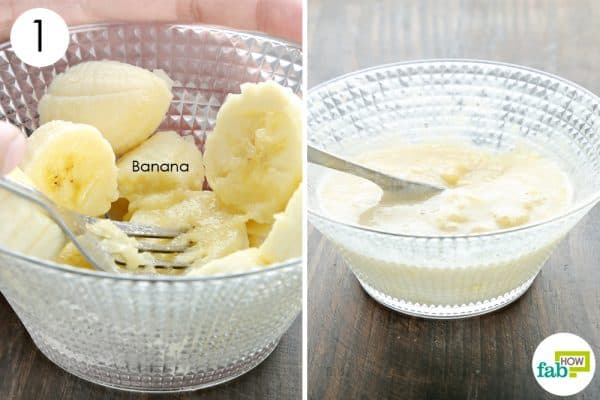 chop and mash a ripe banana to make diy homemade vegan face masks for all skin types