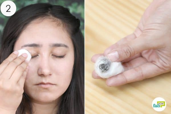 dip a cotton ball and remove the eye makeup