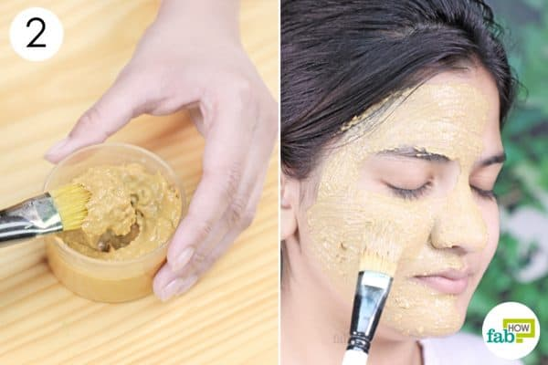 apply the mask to your face to remove sun tan