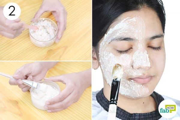 apply the mask to your face to remove sun tanning